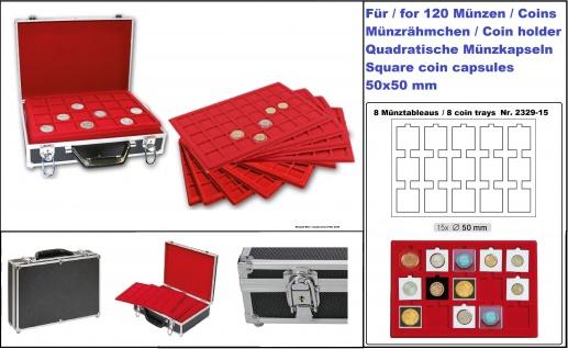 LINDNER 2338-120 ALU MÜNZKOFFER Black Design + 8 Tableaus 2329-15 für 120 Münzrähmchen & Octo Carree Quadrum Square Plaza quadratische Münzkapseln 50x50mm