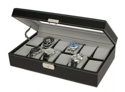 SAFE 73630 Skai Uhrenkoffer Kassette Tabak - Dunkelbraun Für 12 Uhren + Uhrenhaltern Cremefarbend - Vorschau 3
