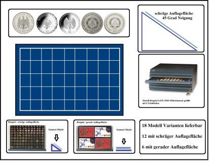 SAFE 6534 Schubladen für SAFE 6500 mit schräger Auflagefläche blaue Einlage 45 eckige Fächer 34 mm - Ideal für 10 DM & 10 - 20 Mark DDR & Deutsche 10 - 20 Euro Münzen