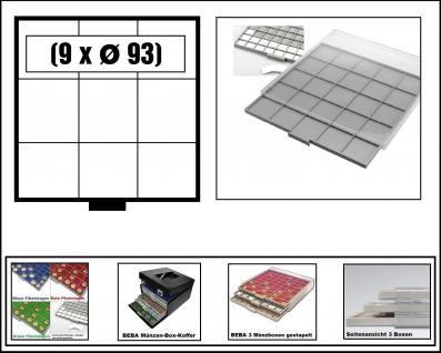SAFE 6603-6 BEBA MÜNZBOXEN 9 quadratische Fächer 93 mm + weiße Kartoneinlagen Ideal für große Münzen & Medaillen & original US Slab's Münzkapseln