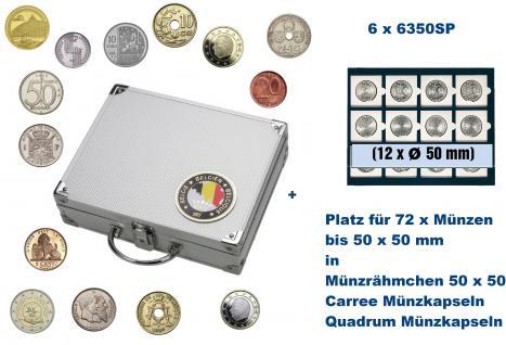SAFE 239 ALU Länder Münzkoffer SMART Belgien / Belgique / Belgie / Belgium mit 6 Tableaus 6350SP für 72 Münzrähmchen Standard 50x50 mm / Münzen bis 50 mm / Carree - Octo - Quadrum Münzkapseln
