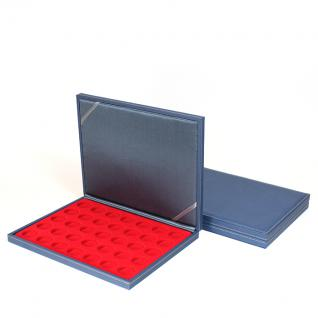LINDNER S2381-2111E Nera M AZUR Münzkassetten Einlage Hellrot Rot 35 x Münzen 32, 50 mm für 10 & 20 Euro / DM / 10 & 20 Mark DDR