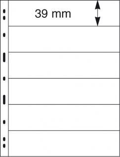 5 x LINDNER 076 UNIPLATE Blätter, schwarz 6 Streifen / Taschen 39 x 194 mm Für Briefmarken - Vorschau 2