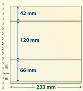 10 x LINDNER 802309P T-Blanko-Blätter Blankoblatt 18-Ring Lochung - 3 Taschen 42 / 120 / 66 x 233 mm - Vorschau 1
