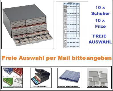 SAFE 6100 Set BEBA Münzkasten MAXI komplett mit + 10 Schubern Schubladen + Filze + Freie Auswahl