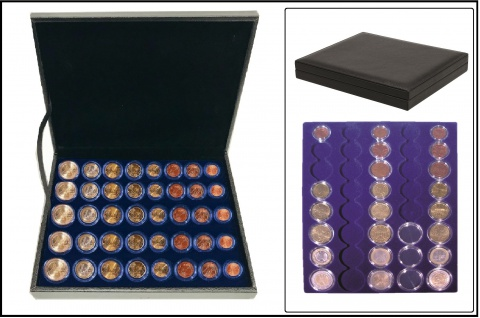 SAFE 63390 NOVA deluxe Münzkassette schwarz 5 EURO Kurmünzenmsätze 1 2 5 10 20 50 Cent & 1 2 Euru in Münzkapseln 16, 5 19 20 21, 5 22, 5 23, 5 26 mm