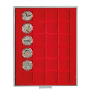LINDNER 2124 Münzbox Münzboxen Standard 24 x 42 mm Münzen quadratischen Vertiefungen 1 $ US Eagle Dollar 50 FF