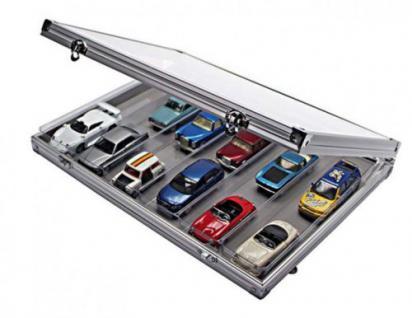 Lindner 4890-6 ALU Sammelvitrinen Vitrinen Setzkasten mit 6 Fächern 257x57 mm Für Modellbau Mini Trucks Autos