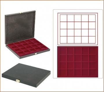 LINDNER S2491-2870E CARUS-1 Holz Sammelkassetten Dunkelrot 20x 47x47x18, 5mm