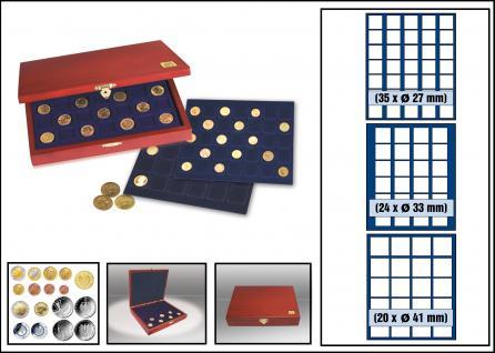 SAFE 5883 Elegance Echtholz Münzkassetten mahagonifarbend mit 3 Tableaus MIXED 79 x Fächer für Münzen 27 - 41 mm