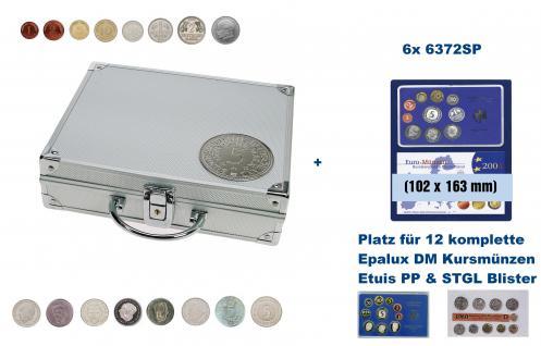 SAFE 235 - 6372 ALU Länder Münzkoffer SMART BR. Deutschland & 5 DM 3 D Plakette mit 6 Tableaus 6372SP für 12 original DM Kursmünzensätze im EPALUX ETUIS & Blisertfolie