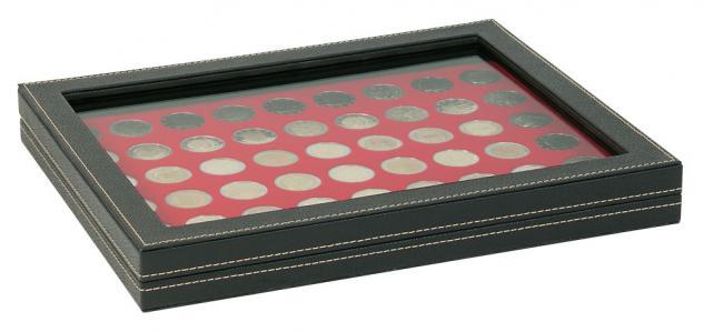 LINDNER 2367-2154E Nera M PLUS Münzkassetten Standard Einlage Hellrot mit glasklarem Sichtfenster für 54 x Münzen 25, 75 mm für 2 Euro