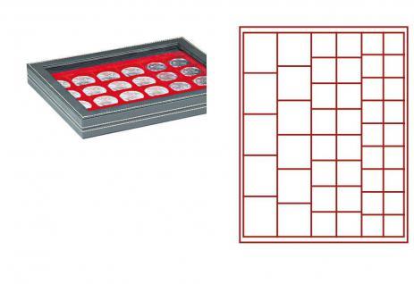 LINDNER 2367-2145E Nera M PLUS Münzkassetten Hellrot Rot mit glasklarem Sichtfenster Mixed für 45 x Münzen - 24, 28, 39, 44 mm die Starter Box