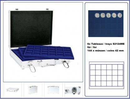 LINDNER S2307-S2124ME MÜNZKOFFER im ALU Design + 6 blauen Tableaus S2124ME für Münzen bis 42 mm & Münzkapseln bis 36 mm (Innen) - Ideal für USA US Silver Eagle Dollar $