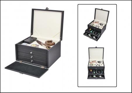 LINDNER 2373o NERA KABINETT Sammelkassetten helles Ablagefach + 3 Schubladen mit schwarzem Velour Ideal für Uhren Schmuck Orden Mineralien