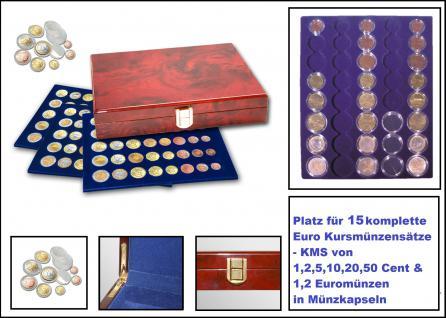SAFE 5793 Premium WURZELHOLZ Münzkassetten 3 Tableaus 6339 Für 15 komplette Euro KMS Kursmünzensätze 1, 2, 5, 10, 20, 50, Cent - 1, 2 € Euromünzen in Münzkapseln