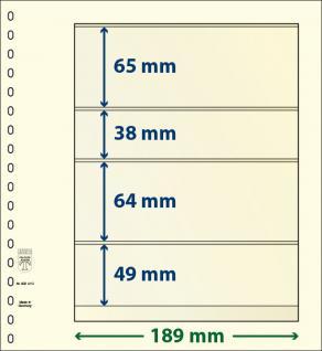 1 x LINDNER 802410 T-Blanko-Blätter Blankoblatt 18-Ring Lochung 4 Taschen 65 / 38 / 64 / 49 x 189 mm