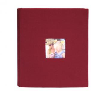 SAFE 5719 MEDIUM TEXTIL FOTOALBUM IN WEINROT - ROT - MIT 100 WEIßEN FOTOKARTONSEITEN & COVERFOTO / WINDOW (austauchbar) - MIT CD TASCHE