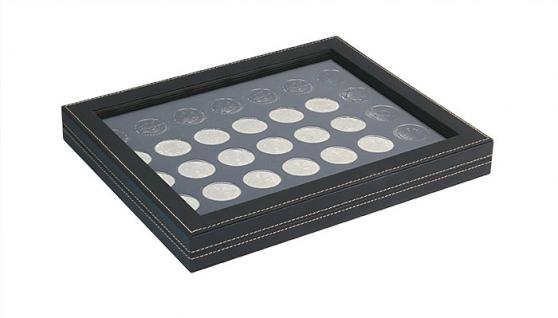 LINDNER 2367-2111CE Nera M PLUS Münzkassetten Einlage Carbo Schwarz mit glasklarem Sichtfenster 35 x Münzen 32, 50 mm für 10 & 20 Euro / DM / 10 & 20 Mark DDR