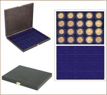 LINDNER S2491-2122ME CARUS-1 Echtholz Holz Münzkassetten 1 Einlage marine blau 20 Fächer x 50 mm Für 20 Münzrähmchen & Carree & Octo & Quadrum Münzkapseln