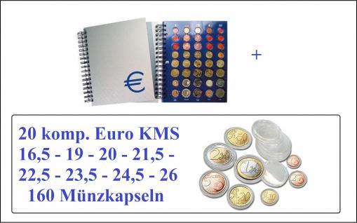 SAFE 7803 Euro Münzalbum TOPset Spiralbindung 20 Euro Kursmünzensätze KMS 1 Cent - 2 Euromünzen komplett mit 160 Euro Set Münzkapseln 16, 5 - 19 - 20, 21, 5 - 22, 5 - 23, 5 - 24, 5 - 26 mm von Andorra - Zypern zum eindrücken