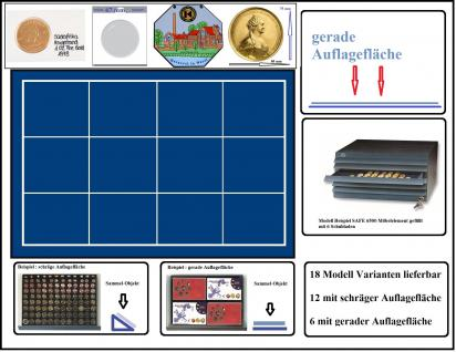 SAFE 6564 Schubladen für SAFE 6500 blaue Einlage 12 eckige Fächer 80 x 75 mm - Ideal für Münzrähmchen XL 67x67 mm - Rebeck Münzrähmchen 75x50 mm - Quadrum XL Münzkapseln - große Medaillen - Pins
