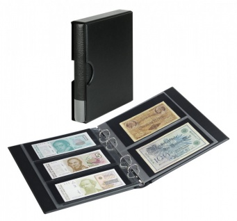 LINDNER S1406BN-S Schwarz Rondo Ringbinder Album Banknotenalbum + Kassette + 5x Hüllen MU140 2er Teilung & 5x MU3103 3er Teilung