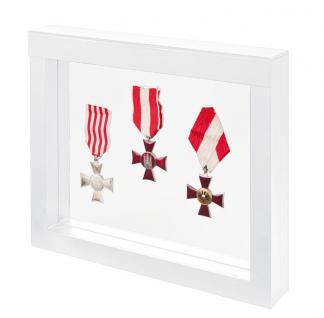 LINDNER 4851 NIMBUS 230 WeissSammelrahmen Schweberahmen 3D Für Militaria - Orden - Abzeichen
