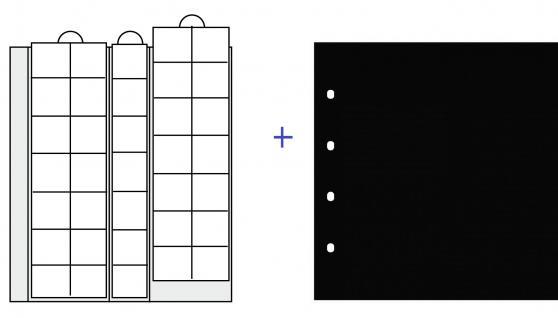2 x SAFE 7393 Premium Ergänzungsblätter Münzhüllen Münzblätter 35 Fächer x 28 mm + schwarze ZWL - Ideal für 2 Euro Münzen