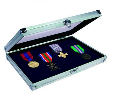 SAFE 5618 ALU Sammelvitrinen Vitrinen Compact mit blauer Samteinlage für Schmuck Ketten Ringe Militaria Orden Spangen Antiquitäten Dolche Waffen Mineralien