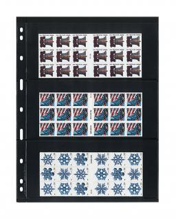 5 x LINDNER 073 UNIPLATE Blätter, schwarz 3 Streifen / Taschen 84 x 194 mm Für Blocks Banknoten Geldscheine - Vorschau 2