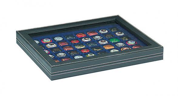 LINDNER 2367-2148ME Nera M PLUS Münzkassetten Einlage Marine Blau mit glasklarem Sichtfenster 48 Fächer für Münzen bis 30 x 30 mm - 5 DM Euro Mark DDR