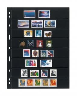 10 x LINDNER 078 UNIPLATE Blätter, schwarz 8 Streifen / Taschen 26 x 194 mm Für Briefmarken - Vorschau 1