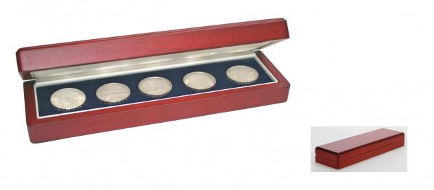 SAFE 7911 Holz Münzetui Etuis Mahagonifarbend Münzen & Medaillen Nutzfläche 220 x 60 mm zum eindrücken Ideal für Geocoins & TBs Travel Bugs & Geocaching