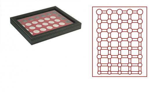 LINDNER 2367-2956E Nera M PLUS Münzkassetten Einlage Dunkelrot Rot mit glasklarem Sichtfenster für 5 komplette Euro Kursmünzensätze KMS 1 Cent - 2 € in Münzkapseln