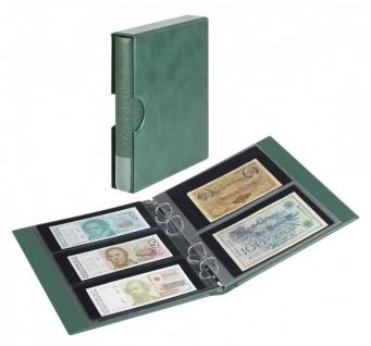 LINDNER S1406BN-G Grün Rondo Ringbinder Album Banknotenalbum + Kassette + 5x Hüllen MU140 2er Teilung & 5x MU3103 3er Teilung