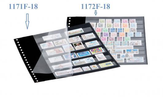 10 x LINDNER 1172F-18 Einsteckblätter 18-Ring Lochung schwarz mit 10 Streifen