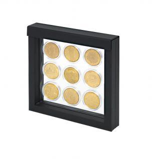 LINDNER 4838 NIMBUS 150 Schwarz Sammelrahmen Schweberahmen 3D 150x150x25 mm Für Münzen & US Slab Münzkapseln