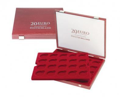 LINDNER 2456 Luxus Kassetten mit 2 Tableaus 40 x 20 Euromünzen Gedenkmünzen Deutschland in Münzkapseln 32, 5 PP