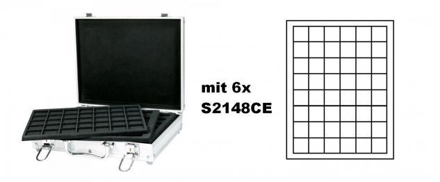 LINDNER S2307-S2148CE MÜNZKOFFER im ALU Design + 6 schwarzen Tableaus S2148CE für Münzen bis 30 mm & Münzkapseln bis 24, 5 mm - Ideal für 2 Euromünzen