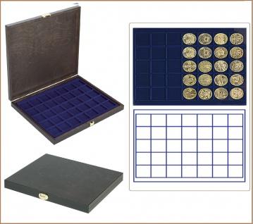 LINDNER S2491-2135ME CARUS-1 Echtholz Holz Münzkassetten blau Mit 35 quadratischen Fächern bis 36 mm