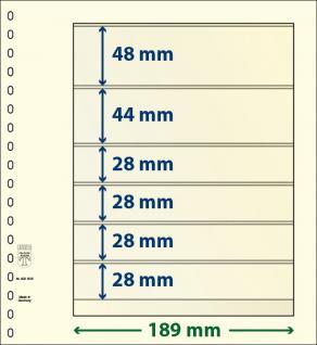 10 x LINDNER 802605P T-Blanko-Blätter Blankoblatt 18-Ring Lochung 6 Taschen 48 / 44 / 28 / 28 / 28 / 28 x 189 mm