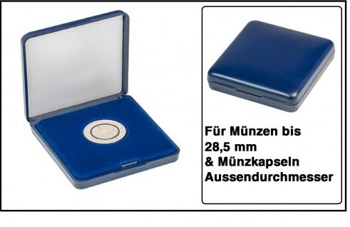 Lindner 2029-285 Blaues Kunststoff Münzetui mit blauer Veloureinlage Für Münzen / Münzkapseln bis 28, 5 mm