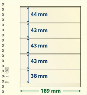 5 x LINDNER DT802512P DT-Blanko-Blätter Blankoblatt 18-Ring Lochung - 2x 5 Taschen 38 x 189 mm