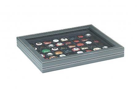 LINDNER 2367-2148CE Nera M Sammelkassetten Carbo Schwarz + Sichtfenster 48 Fächer 30x30 mm Für 48 Champagnerdeckel Champagnerkapseln