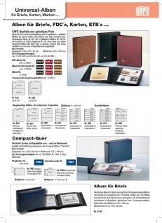 SAFE 520-6 Braun Universal Album Ringbinder + 10 Hüllen - 2 Taschen 185 x 128 mm Für Postkarten Ansichtskarten Banknoten Geldscheine Briefe FDC - Vorschau 4