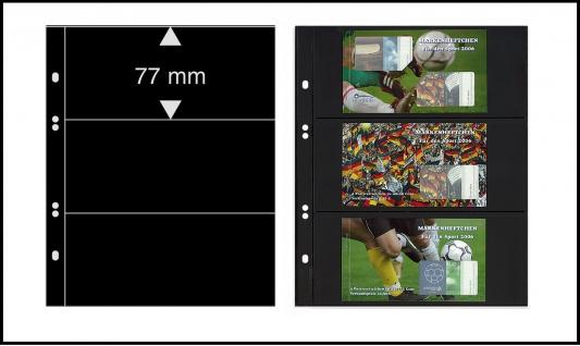 5 x LINDNER MU1313 Schwarze Multi Collect Einsteckblätter 3 Taschen 77 x 253 mm für Briefmarken - Bankoten Papiergeld