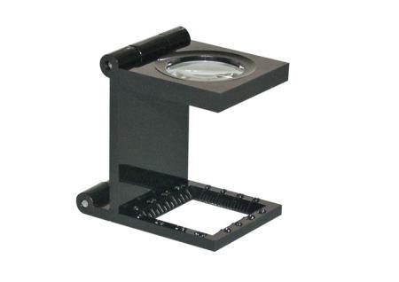 LINDNER S36 Metall LUPE Standlupe Fadenzähler 10 FACHE Vergrößerung Linse 20x20 mm + Scala