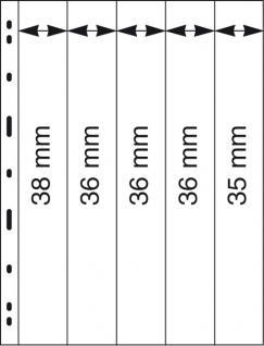 5 x LINDNER 085 UNIPLATE Blätter, glasklar 5 Streifen - 1x 35x258 - 3x 36x258 - 1x 38x258 mm