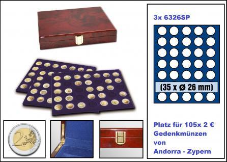 SAFE 5794 Premium WURZELHOLZ Münzkassetten mit 3 Tableaus 6326 - 105 Fächer Für 2 Euro Münzen Gedenkmünzen - Vorschau 1